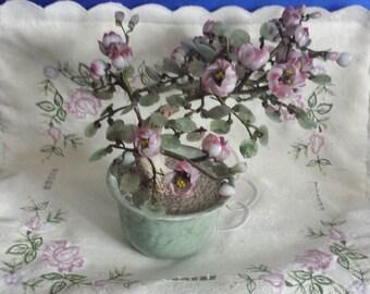 Vintage Chinese Peking Glass Bonsai Tree in a Round Pot