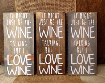 I love wine wood sign