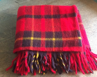 Vintage Plaid Throw Blanket- red, black and yellow
