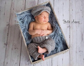 Newborn Props - Newborn Hat and Pant Set - Baby Shower Gift for Boys - Newsboy Set - Boy Photography Prop - Newsboy Hat - Baby Boy Gift