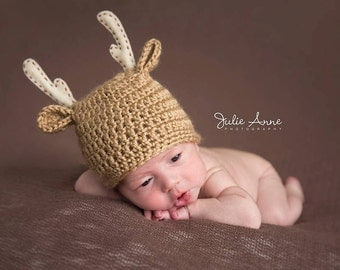 Deer hat for Babies - Newborn Props - Baby Deer Hat in sizes Newborn-12 Months - Woodland Animal Hat - Deer Beanie - Baby Beanie