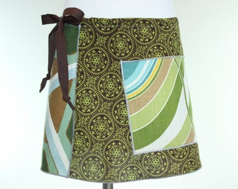 Girls Drawstring Skirt with Pocket- Girls Green Skirt- Kid Pocket Skirt- Drawstring Circle Skirt with Pocket- Drawstring Skirt