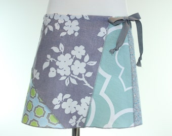 Girls Easter Floral Skirt- Girls Blue Polka Dot Skirt Drawstring- Girls Spring Skirt- Childs School Skirt- Childs Repurposed Clothing