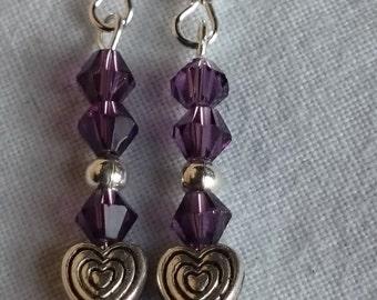 Purple sparkle heart dangle earrings #165
