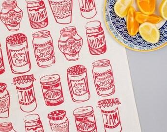Jam Jars Red Tea Towel