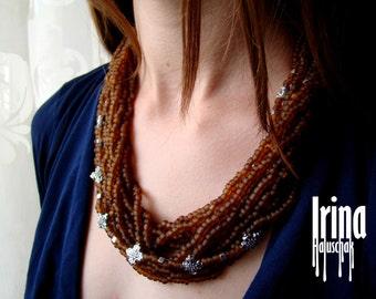 Медове матове намисто з хрестиками. Коралі. Matte honey brown glass beads multistrand necklace with crosses
