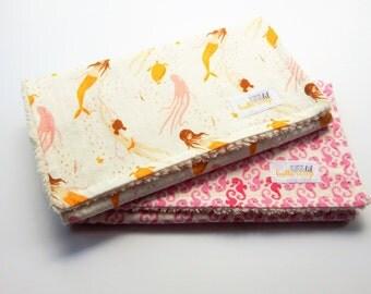 Baby Girl Burp Cloth - Set of 2- Mermaid burp cloths- Seahorse burp cloths- baby shower- baby mermaid- ocean burp cloths