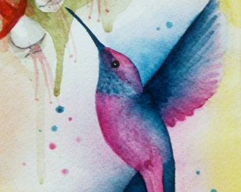 Hummingbird. Original watercolor painting. Free shipping