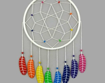 White dreamcatcher with rainbow feathers, multicolored dreamcatcher, modern and colorful dreamcatcher, wall decor for kid's room, home decor