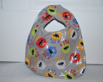 Silly Monster Baby Bib with Plastic-Bright Colors- Free US Shipping