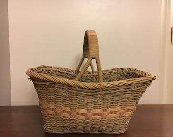 Vintage Woven Basket, Circa 1980s, Peach, Red, Natural, Light Olive Color Wicker Basket, Storage Basket