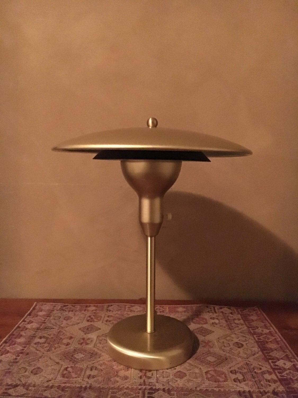 vintage gold painted metal desk lamp bankers lamp. Black Bedroom Furniture Sets. Home Design Ideas