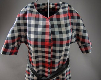 1960's Vintage Style MARNI Coat, Checker Red/Black/White