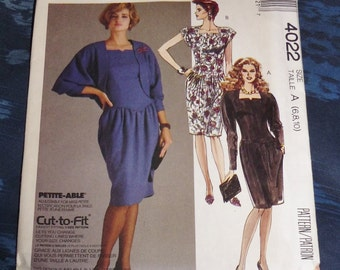 Vintage Easy McCall's Pattern #4022 1980s Dress Petite-Able Size A