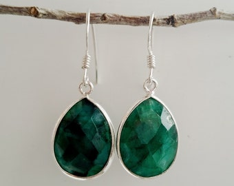 Emerald Earrings - Green Earrings - May Birthstone Jewelry - Green Emerald Jewelry - Silver Emerald Earrings - Wedding Jewelry