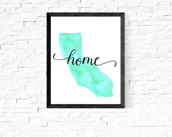 California State Watercolor Print