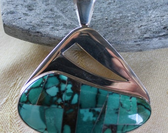 Sterling Silver and Green Turquoise Inlay Pendant
