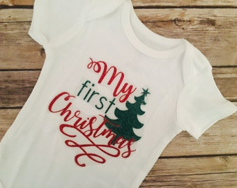 First Christmas Onesie, 1st christmas outfit, baby's first christmas onesie, christmas onesie, christmas bodysuit