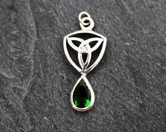 Celtic Trinity Knot Pendant with Green Stone -  Sterling Silver, Charm