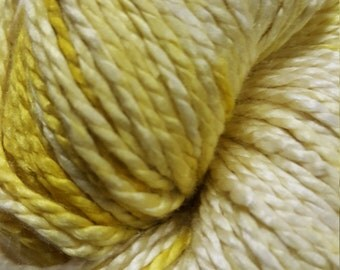 Mulberry silk 2ply, 220 yds, hand dyed, yellow