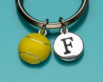 Tennis Ball Keychain, Tennis Ball Key Ring, Yellow Tennis Ball, Sports Equipment, Initial Keychain, Personalized, Charm Keychain, 812