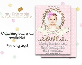Polka Dot First Birthday Invitation / Printable