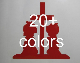 Children Praying Vinyl Decal / Sticker *Available in 24 colors* |cross |
