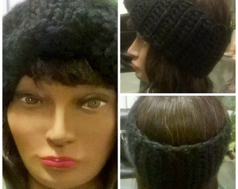 Chunky-Crochet Bow Earwarmer/Headband