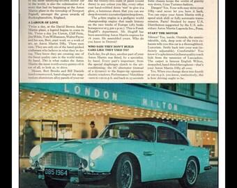 "Vintage Print Ad August 1964 :Austin Martin Lagonda Automobile Cars Wall Art Decor 8.5"" x 11"" Advertisement"