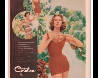 "Vintage Print Ad May 1957 : Catalina Swimwear Bathing Suits Sexy Girls Clothing Fashion Gun Wall Art Decor 10.25"" x 13.75"" Advertisement"