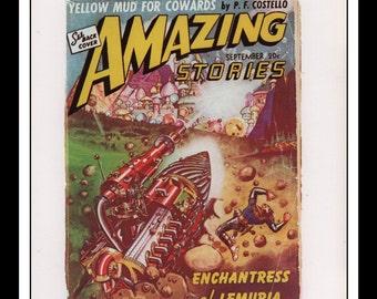 "Vintage Print Ad Sci Fi Cover : Amazing Stories September 1941 Robert Fuqua Illustration Wall Art Decor 8.5"" x 11 3/4"""
