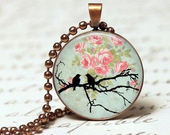 Love birds pendant necklace, birds on branch