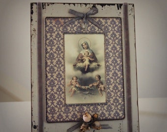 Cottage Chic Tabletop Decor Virgin Mary and Jesus Mixed Media Catholic Gifts and Decor