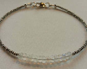 Moonstone & Karen Hill Tribe Silver Beaded Skinny Bracelet Ideal Birthday Bridesmaid Present