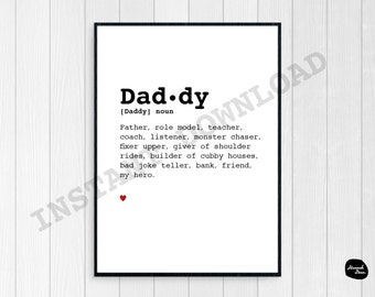 DADDY DEFINITION DESIGN - Instant Download - 8x10 - Fathers Day - Love - Words - Father - Wall Art - Printable Digital File - Gift Idea