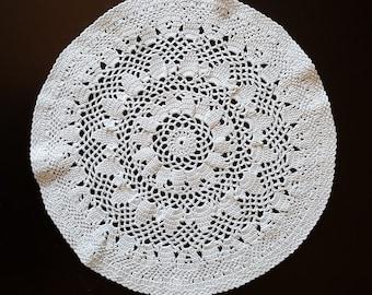 Vintage, Handmade ,Crochet Lace Doily,Crochet Lace Napkin, Lace Doily, Vintage Decor,Vintage doily, round shape, white, 300mm