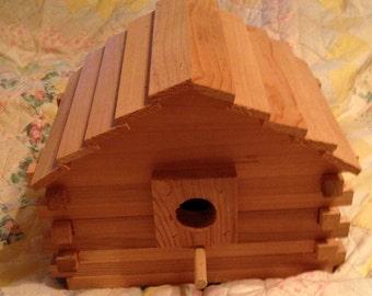 Cedar Log Cabin Bird House