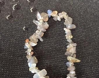 Grey rutilated quartz crystal stretch bracelet