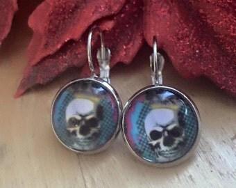 Skull black silver dangly earrings