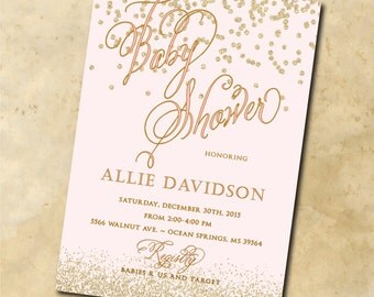 GIRL Baby Shower Invitation printable/Digital File/gold and pink, gold glitter dots, confetti, pink and gold, diy baby shower, blush pink