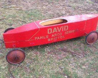 local pickup vintage wooden soap box derby car original unusual pedal car