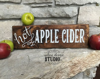 Wood Apple Cider Sign - hand painted, rustic, farmhouse, distressed, home decor, fall decor, autumn, sign, reclaimed wood