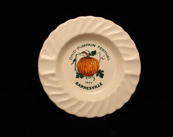 Ashtray Vintage 1977 Ceramic Ashtray Ohio Pumpkin Festival, Barnesville