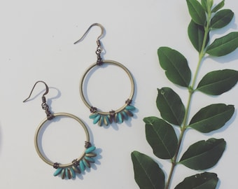 Turquoise and gold boho chic earrings