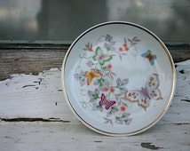 Avon plate, Avon, Porcelain, Hand Painted, Butterfly,  22k Gold Trim, Set of 2