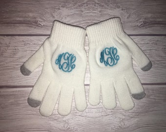 Monogrammed texting gloves!!! Black! Womens