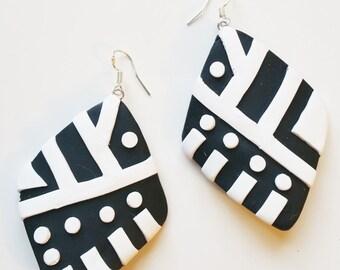 Black and White Tribal Earrings, Dangle Earrings, Drop Earrings, Clay Earrings, Jewellery, Afrocentric Earrings, Clay Jewellery, Urban.