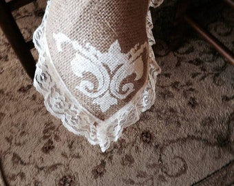 Burlap and lace stenciled table cloth