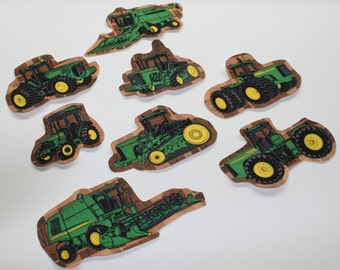 Set of 8 John Deere Tractors Iron-on Fabric Quilting Appliques Transfers, Tractor Iron On, John Deere Iron on