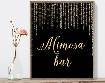 Mimosa Bar Sign DIY / Elegant Gold Wedding Sign / Great Gatsby, Bokeh String Light / Black and Gold Calligraphy ▷ Instant Download JPEG